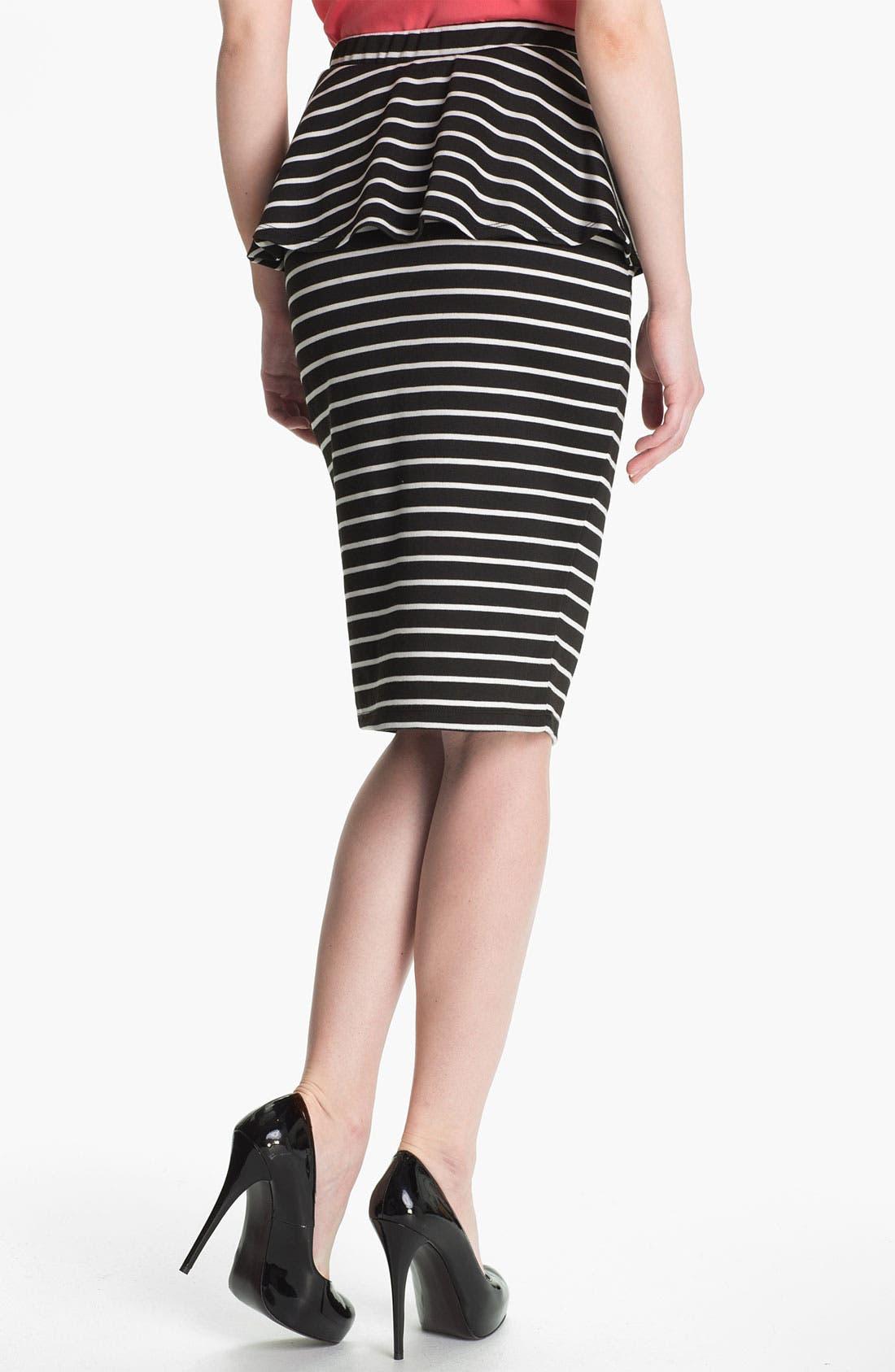 Alternate Image 2  - Bobeau Peplum Stripe Skirt