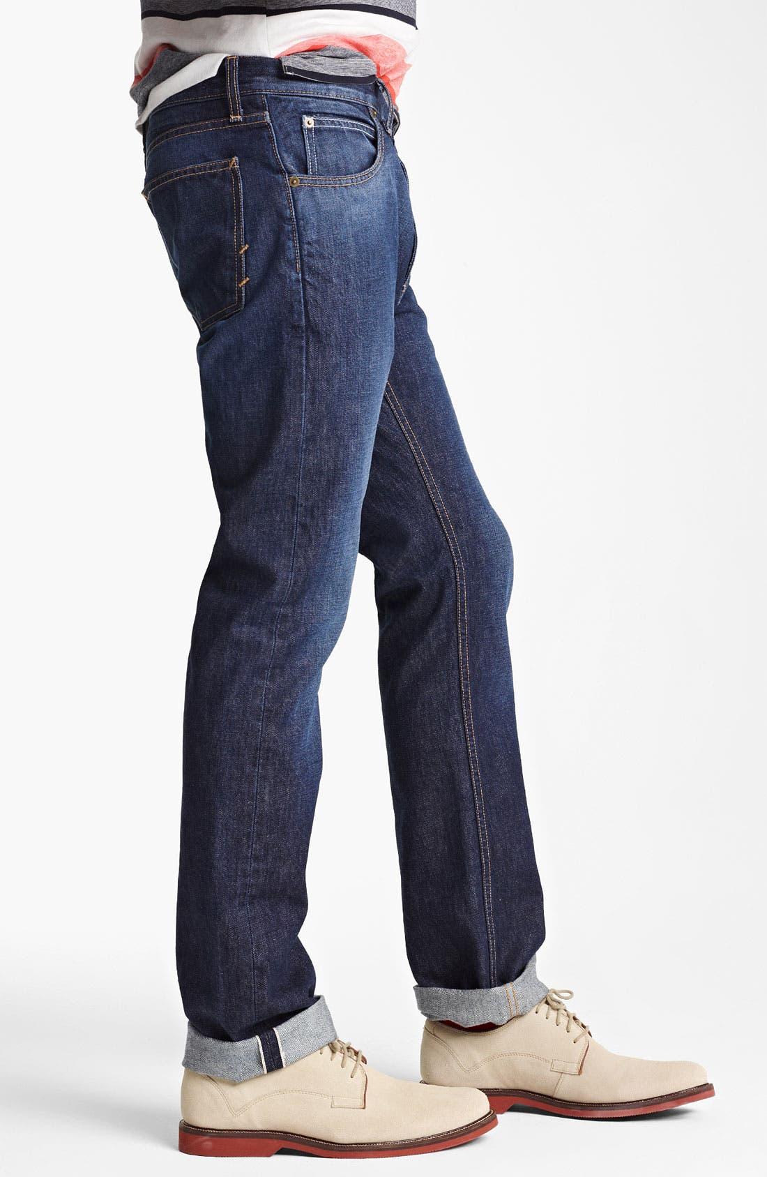 Alternate Image 3  - Billy Reid Slim Fit Jeans (Washed Blue)