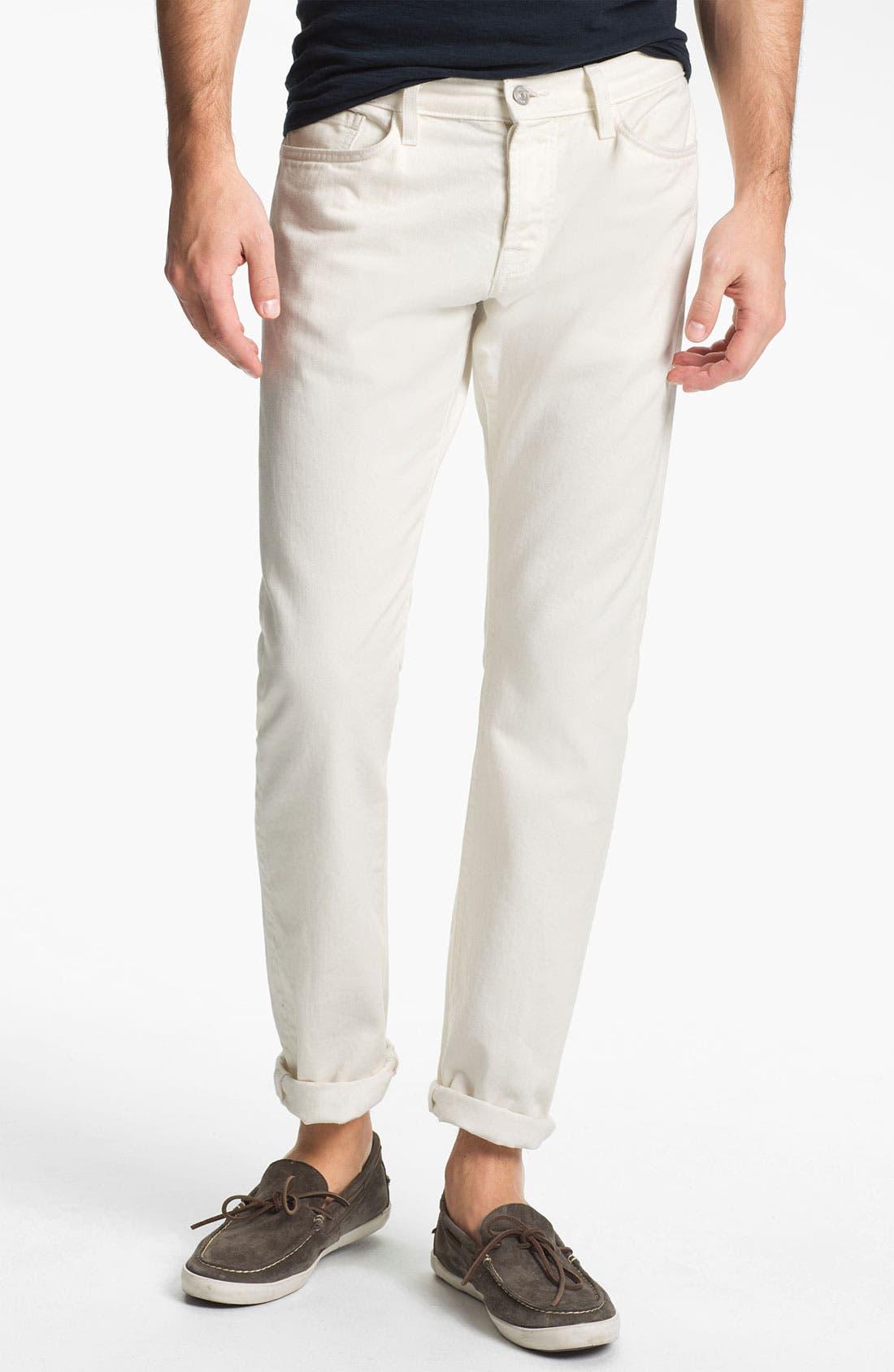 Straight Leg Five Pocket Pants,                         Main,                         color, Milk