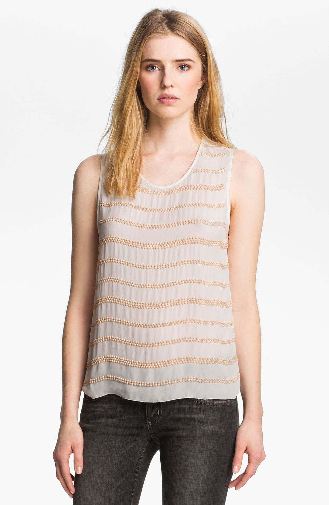 Alternate Image 1 Selected - L'AGENCE Beaded Double Georgette Tank