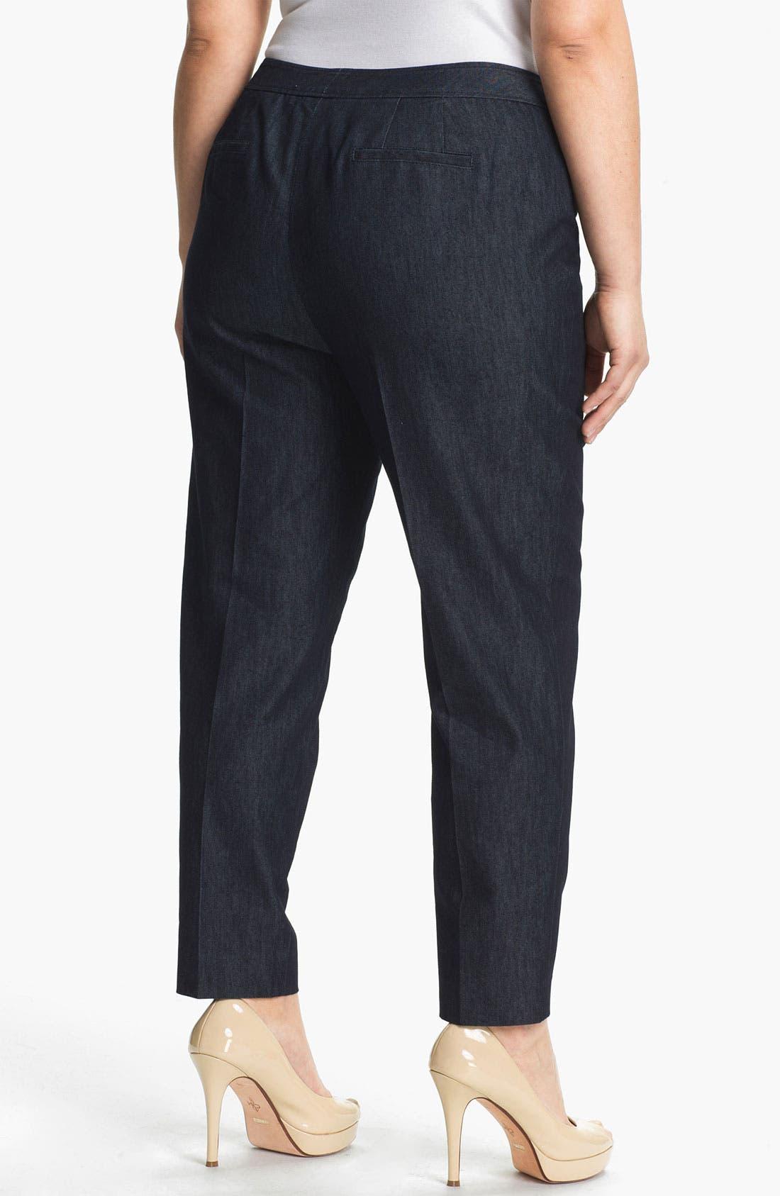 Alternate Image 2  - Sejour Stretch Cotton Ankle Pants (Plus Size)