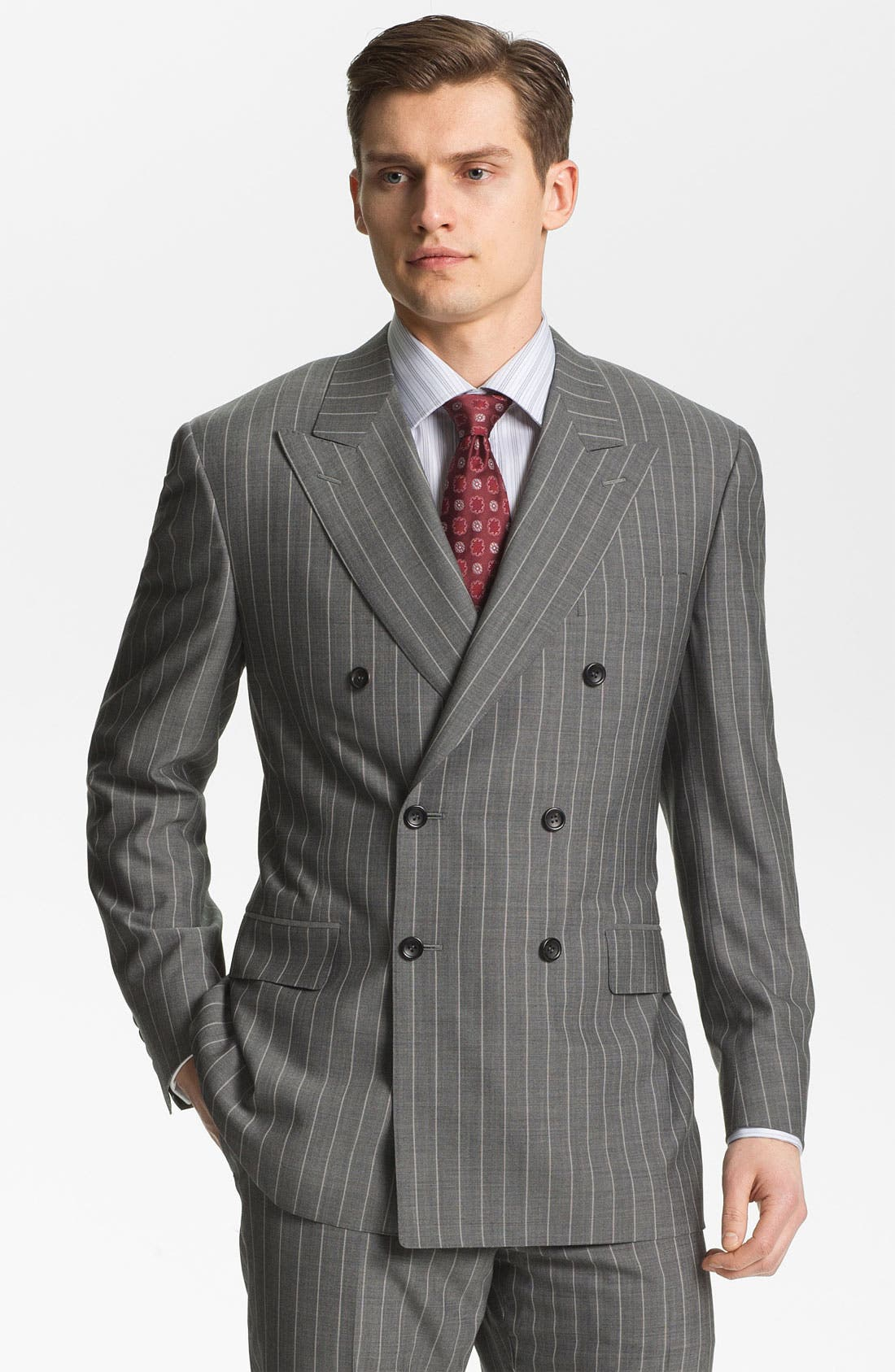 Main Image - Canali Double Breasted Stripe Suit