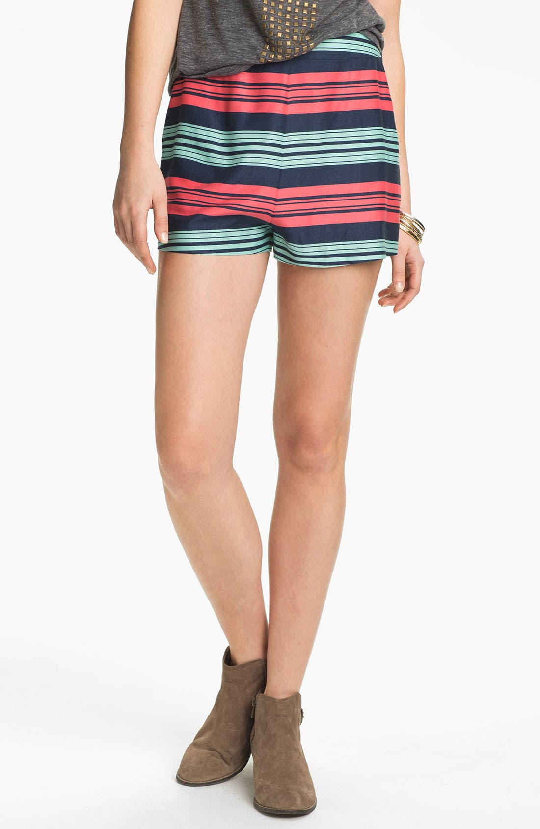 Main Image - BP. High Waist Stripe Shorts (Juniors)
