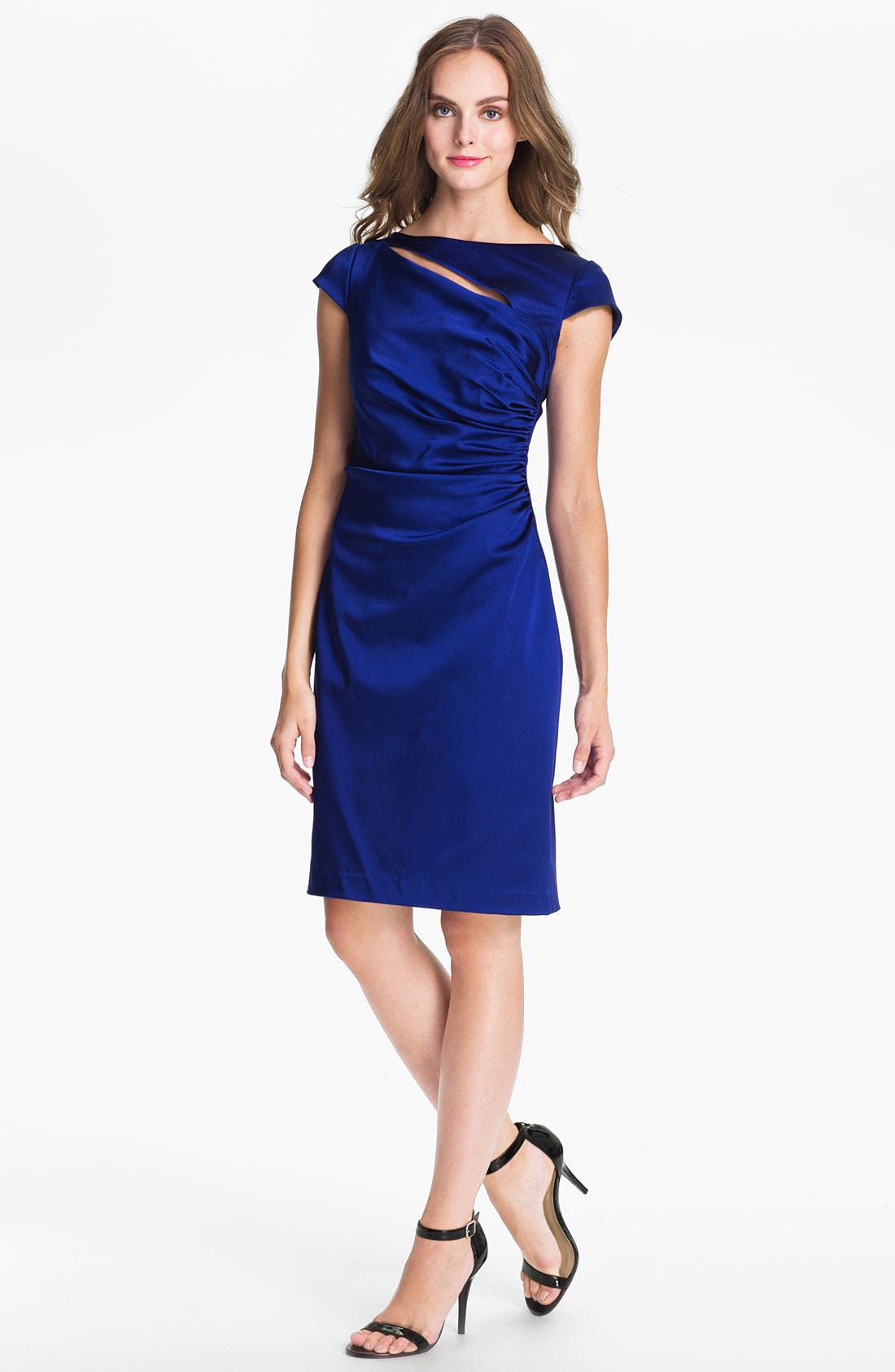 Alternate Image 1 Selected - Kay Unger Ruched Satin Sheath Dress