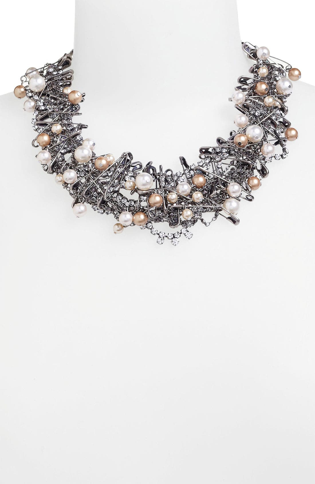 'Punk Chic Pearls' Statement Necklace,                             Alternate thumbnail 2, color,                             Silver Multi