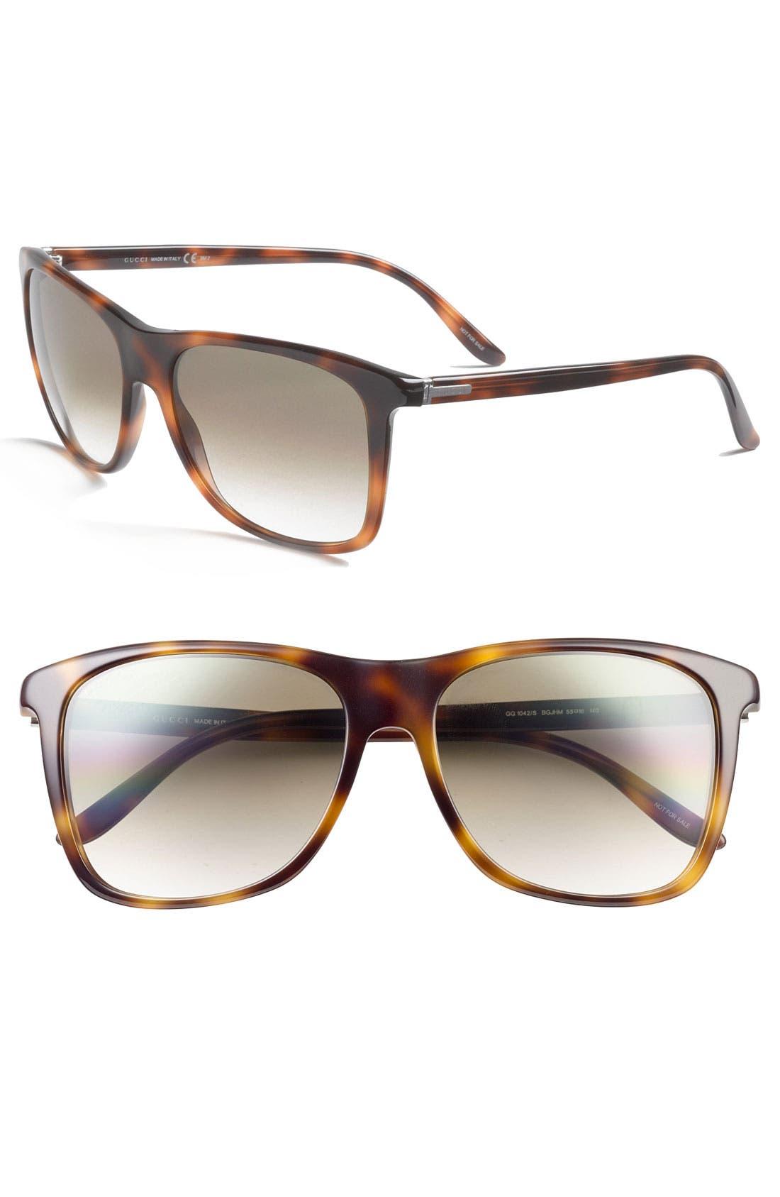 Alternate Image 1 Selected - Gucci Rectangular 55mm Sunglasses