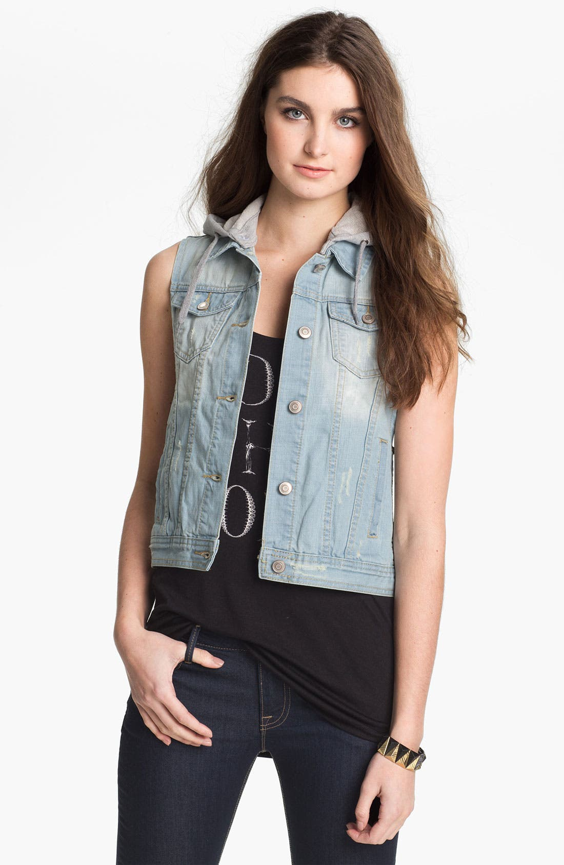 Main Image - Thread & Supply Layered Denim Vest (Juniors)