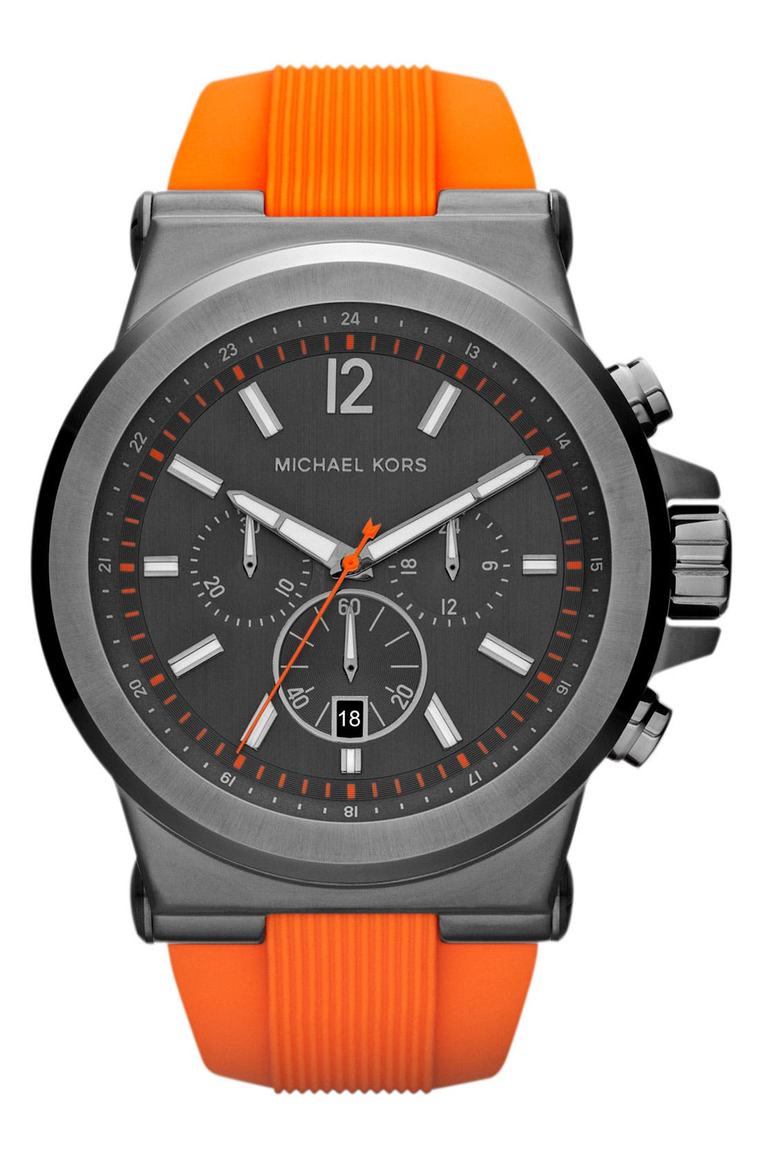 Main Image - Michael Kors 'Dylan' Chronograph Silicone Strap Watch, 48mm