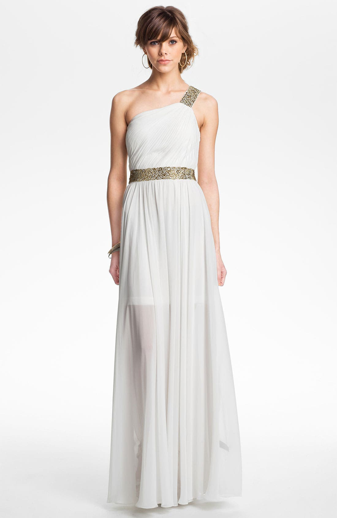 One Shoulder Embellished Chiffon Gown,                         Main,                         color, Ivory