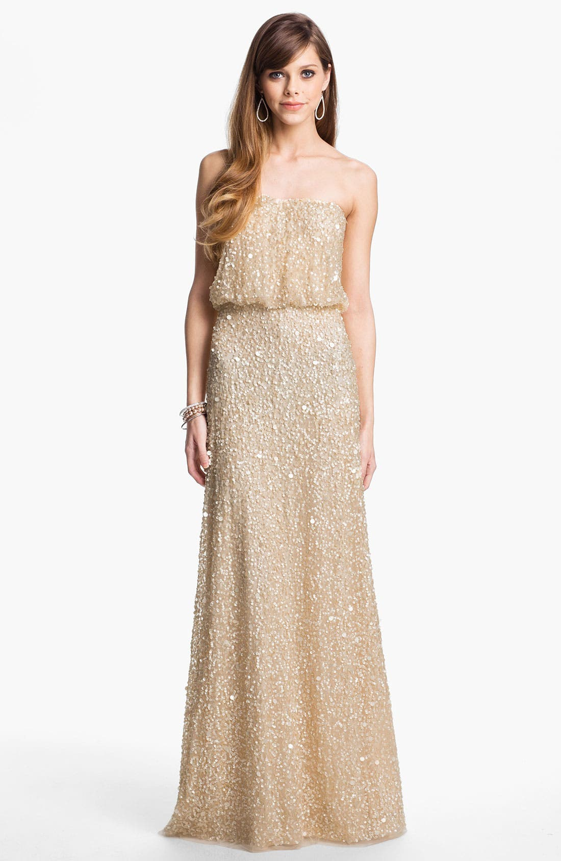 Main Image - Adrianna Papell Sequin Coated Blouson Mesh Gown