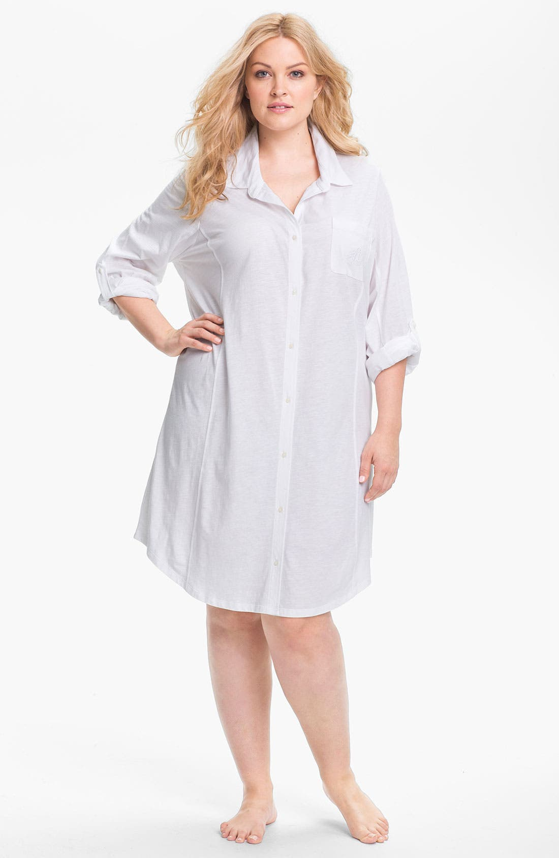 Alternate Image 1 Selected - Lauren Ralph Lauren Sleepwear Knit Nightshirt (Plus)