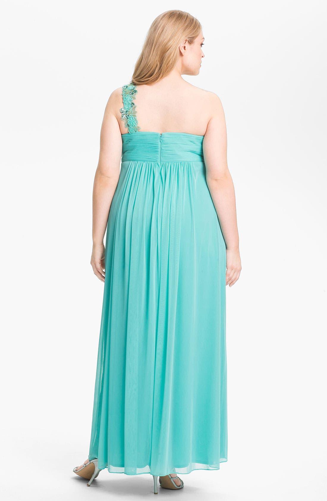 Alternate Image 2  - Xscape Embellished One Shoulder Mesh Gown (Plus Size) (Online Only)