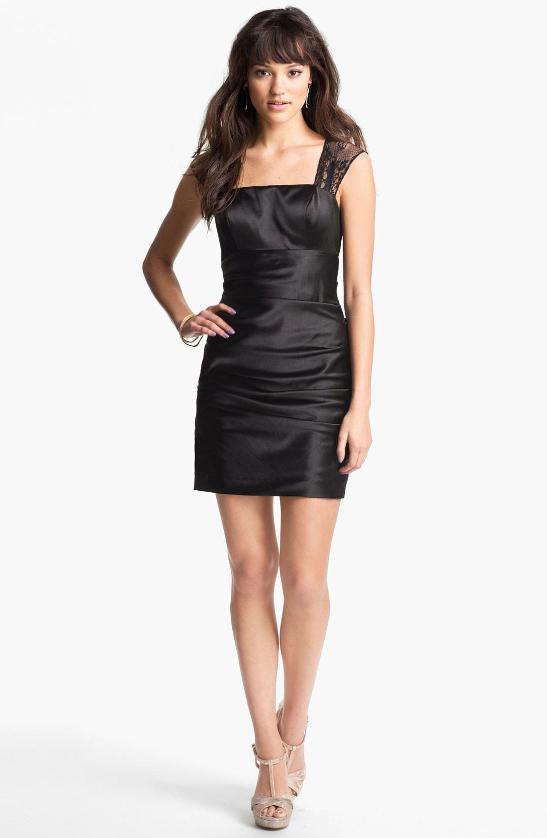 Alternate Image 2  - Hailey Logan Lace Panel Body-Con Dress (Juniors) (Online Only)