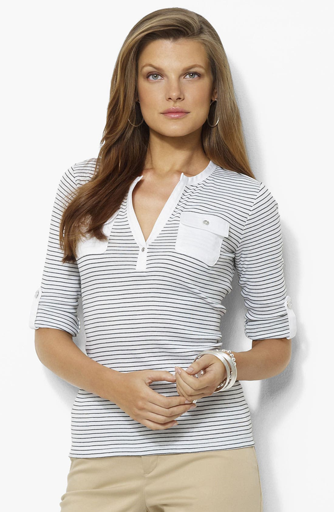 Alternate Image 1 Selected - Lauren Ralph Lauren Stripe Henley Tee