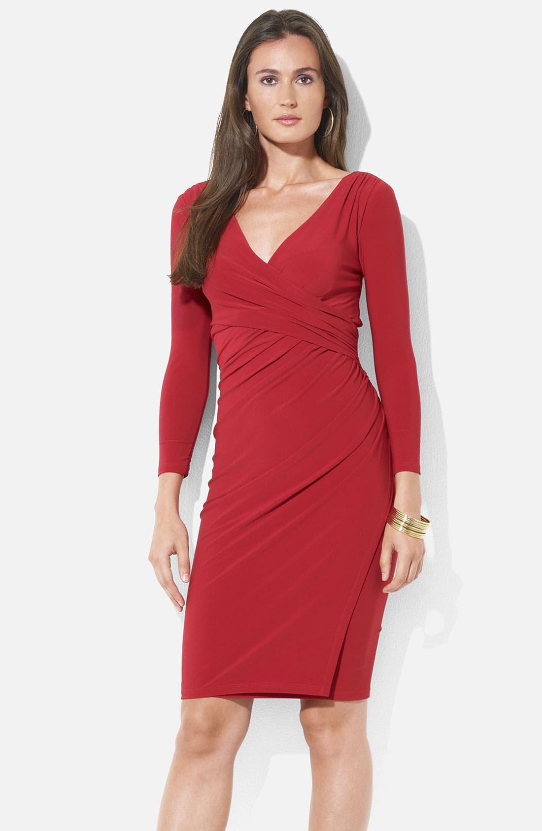 Main Image - Lauren Ralph Lauren Ruched Surplice Jersey Sheath Dress (Petite)