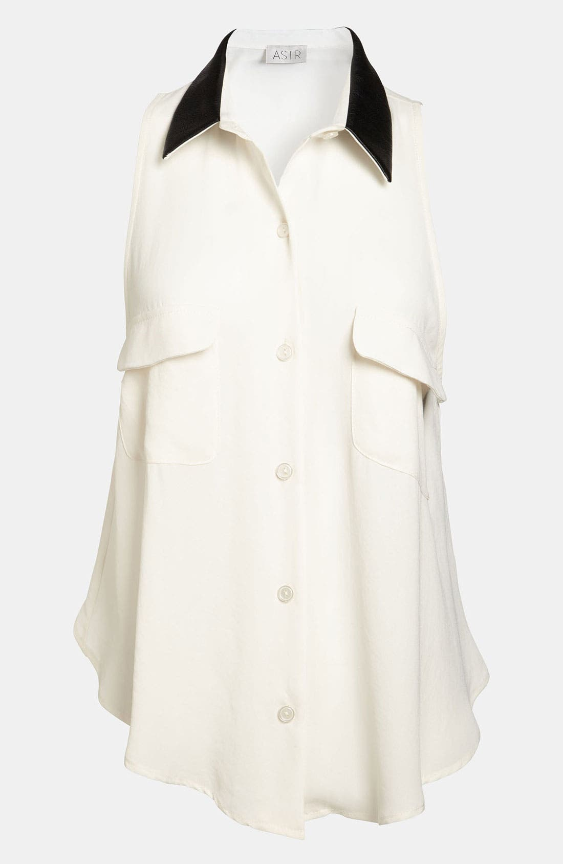 Main Image - ASTR Faux Leather Collar Shirt