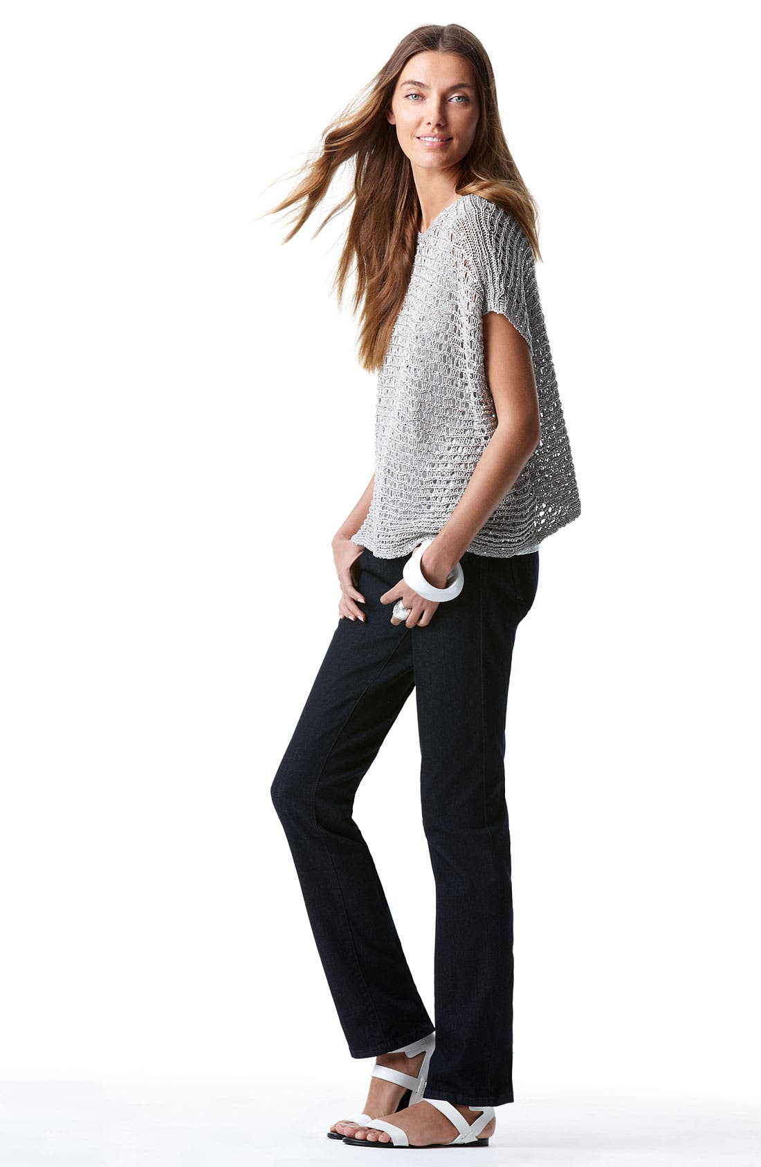 Alternate Image 4  - Eileen Fisher Sequin Open Stitch Sweater
