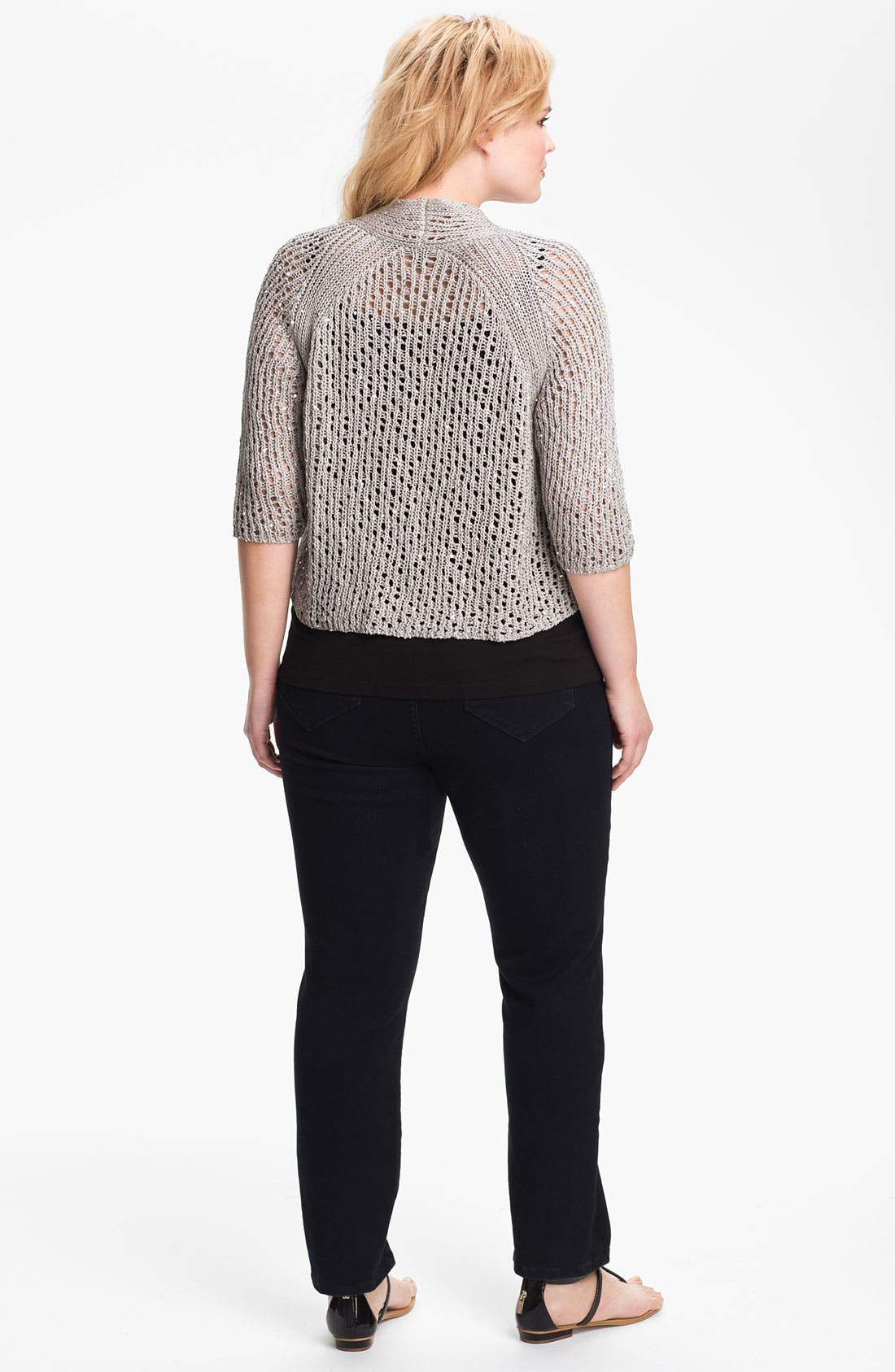 Alternate Image 3  - Eileen Fisher Sequin Crop Cardigan (Plus Size)