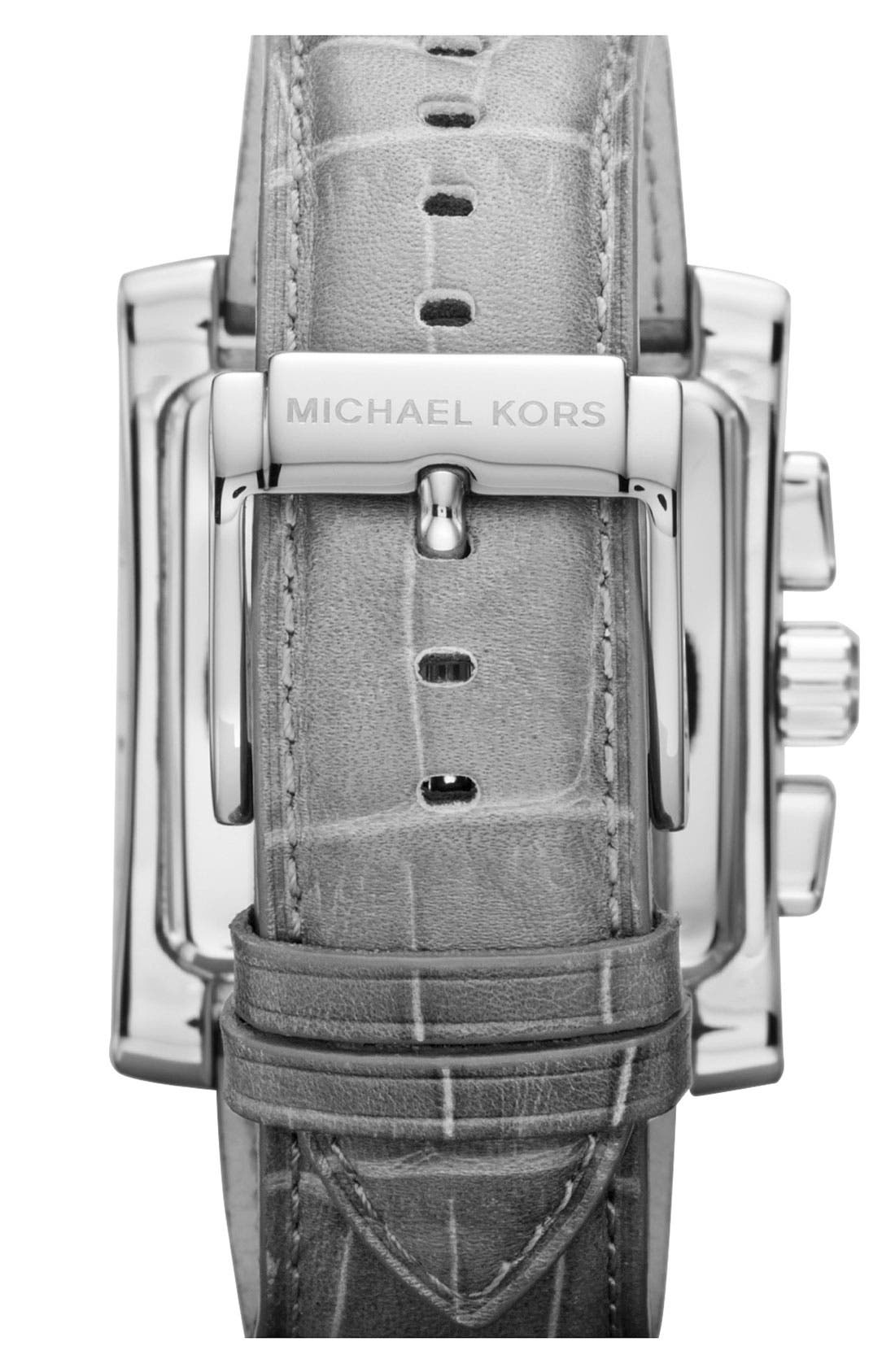 Alternate Image 3  - Michael Kors 'Gia' Square Chronograph Leather Strap Watch, 37mm