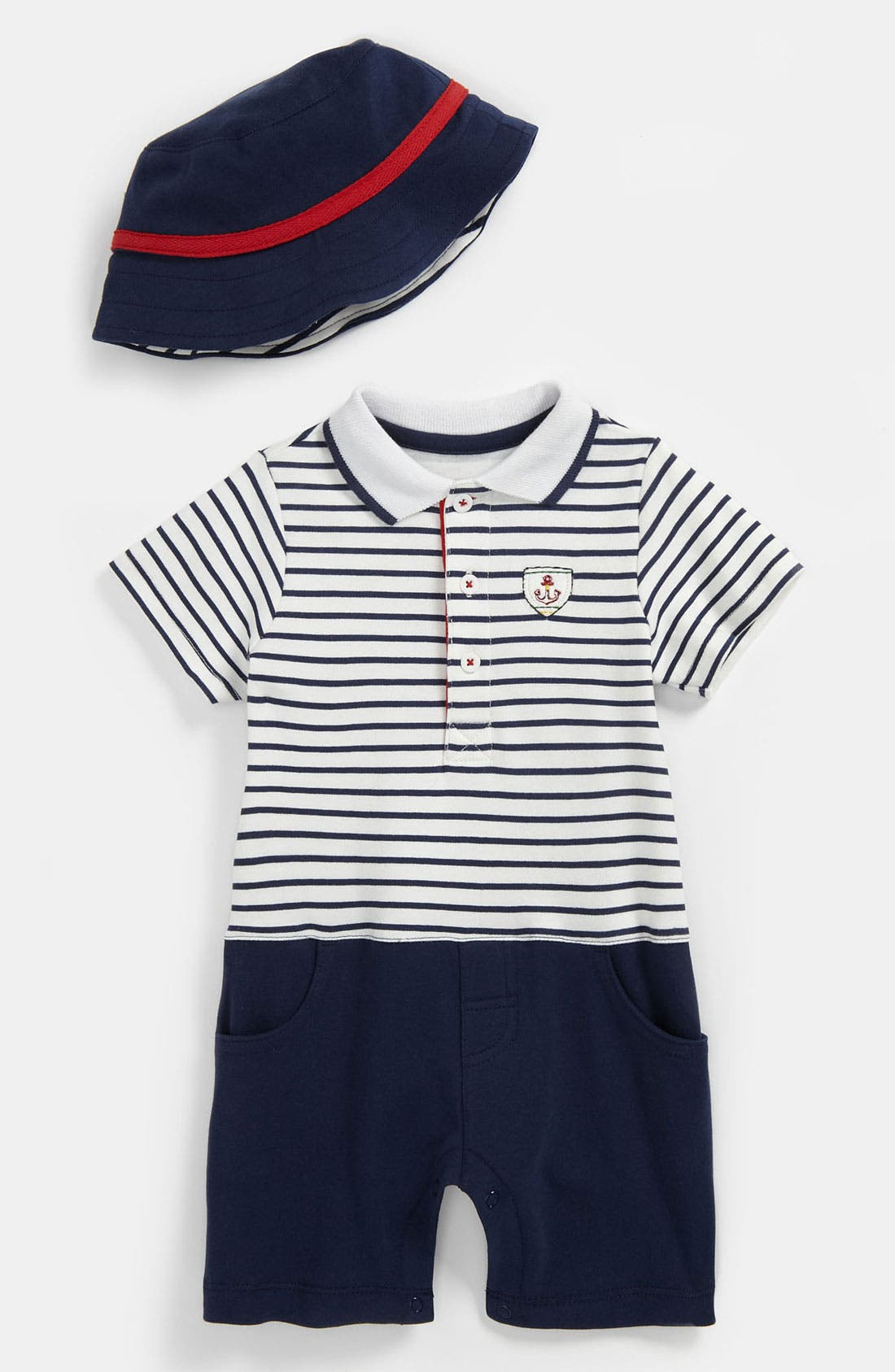 Alternate Image 1 Selected - Little Me 'Drop Anchor Sailing' Romper & Hat (Baby)