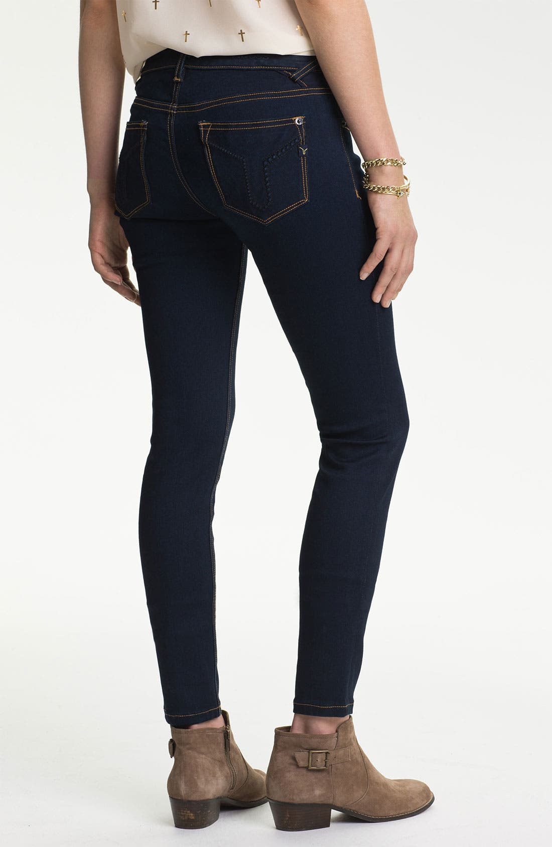 Main Image - Vigoss Embroidered Pocket Skinny Jeans (Juniors)