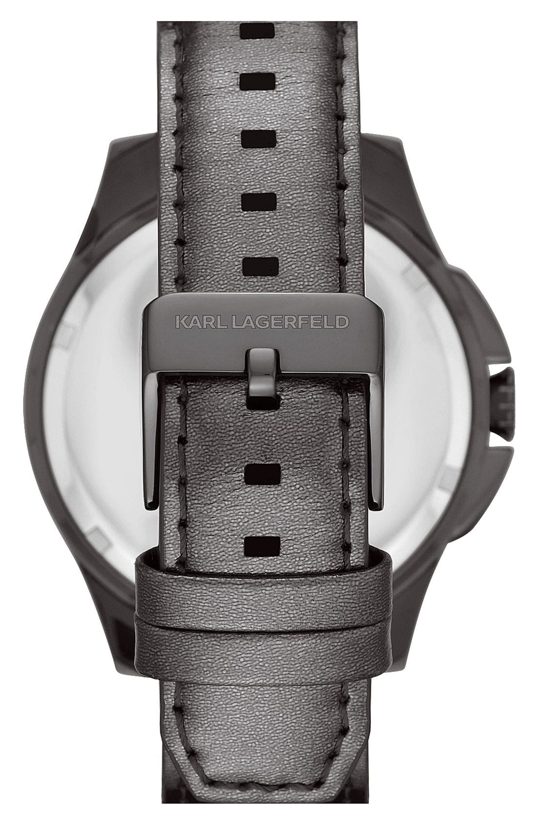 Alternate Image 3  - KARL LAGERFELD '7' Beveled Bezel Leather Watch, 43mm