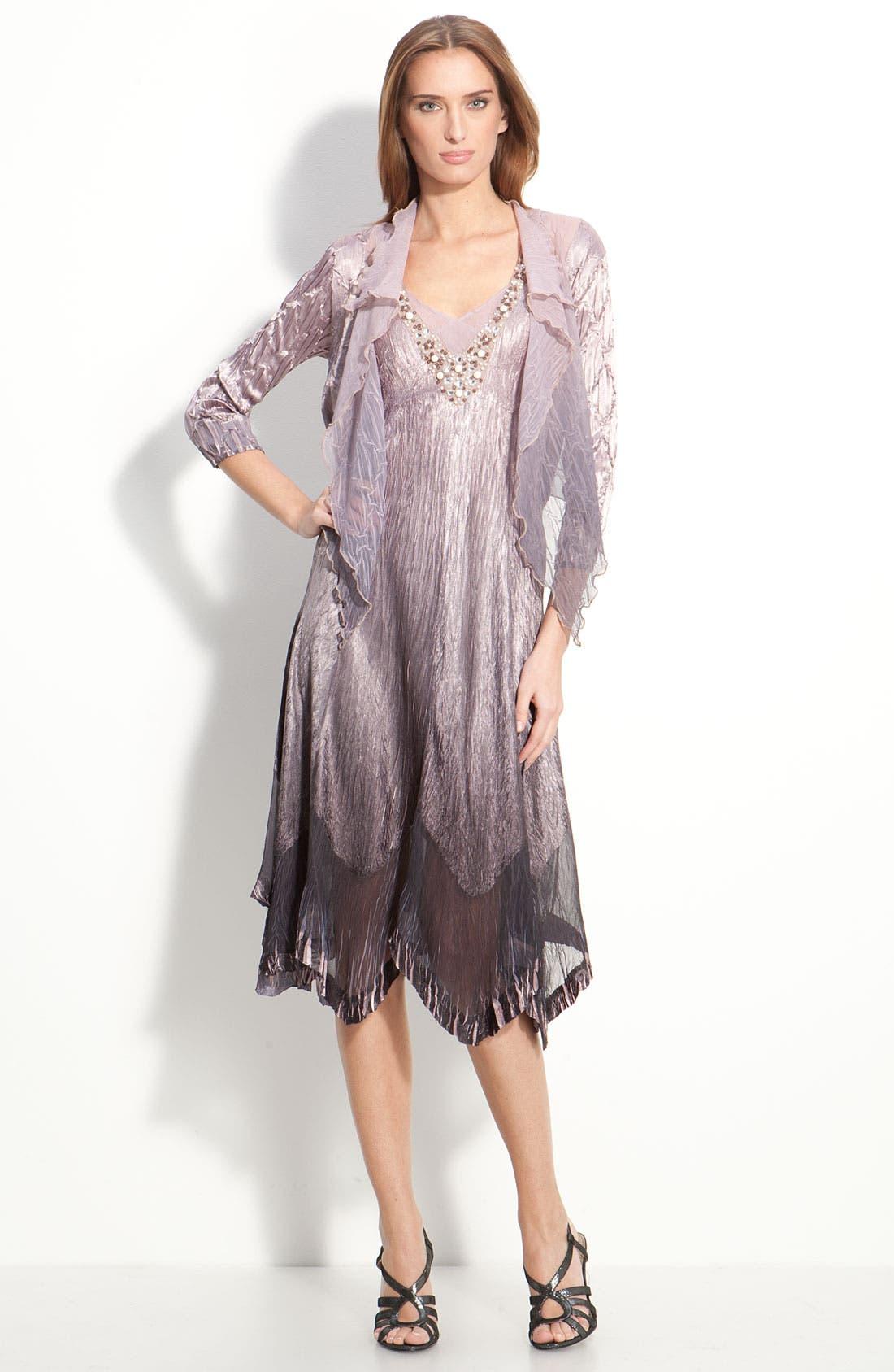Main Image - Komarov Beaded Pleated Charmeuse Dress & Jacket (Regular & Petite)