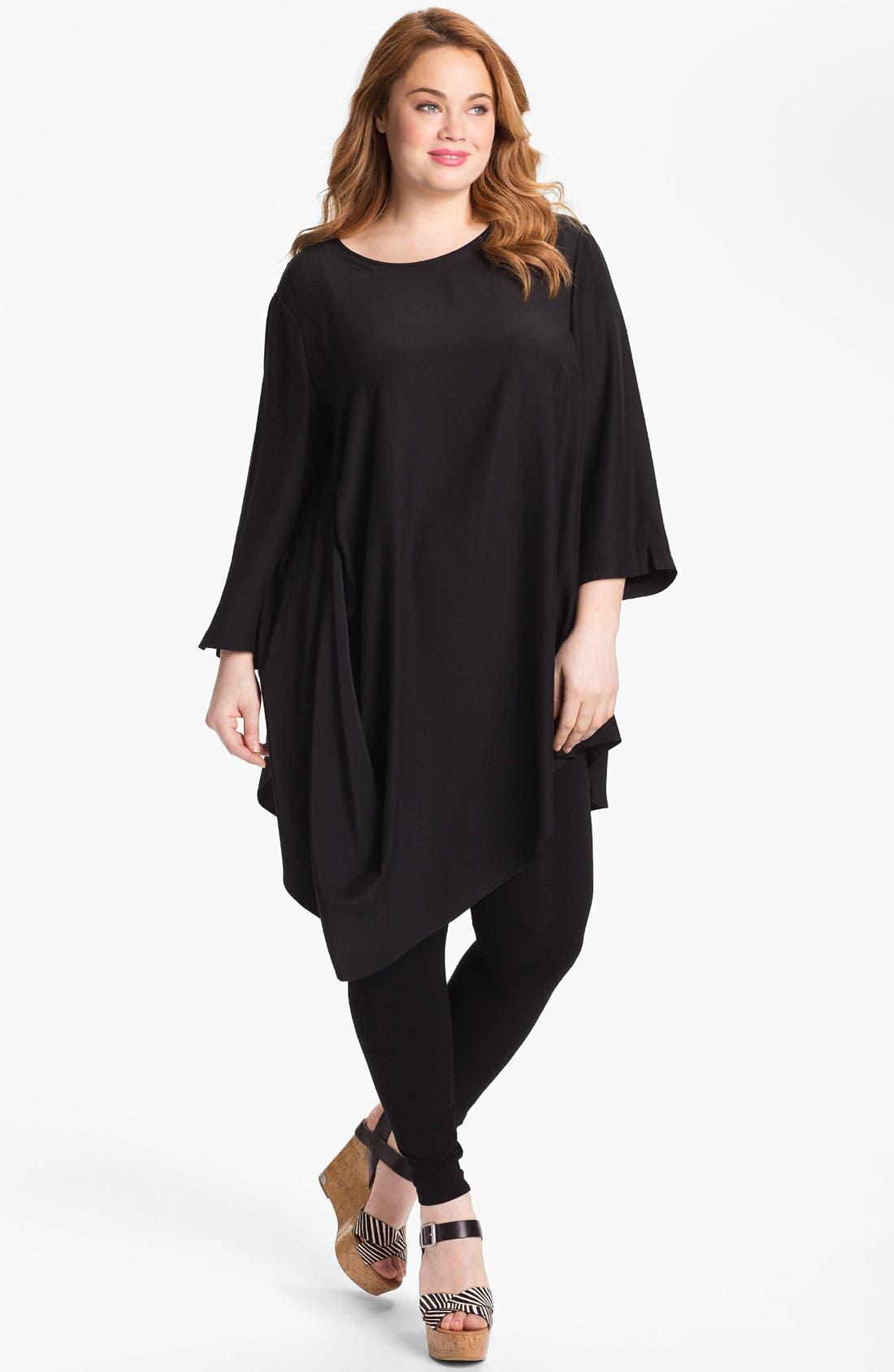 Main Image - Lafayette 148 New York 'Barrymore' Silk Tunic (Plus)