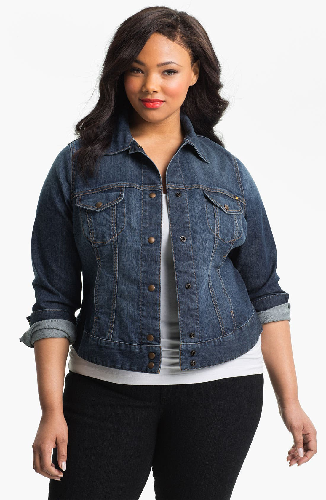 Alternate Image 1 Selected - Lucky Brand 'Adelaide' Denim Jacket (Plus Size)