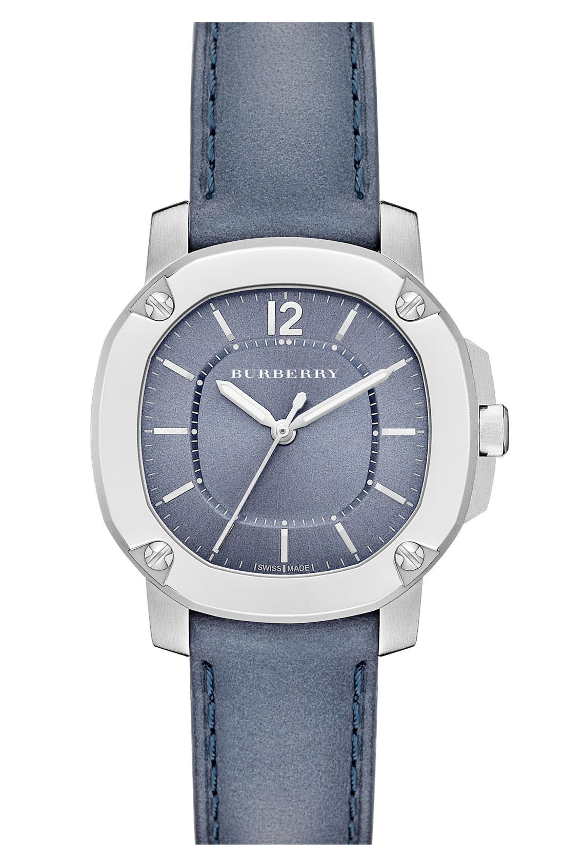 Main Image - Burberry The Britain Leather Strap Watch, 34mm