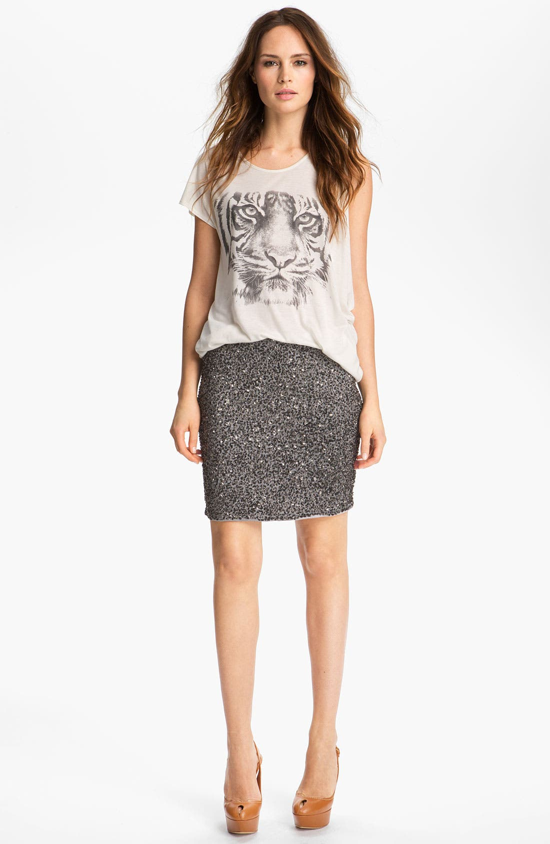 Alternate Image 2  - Haute Hippie Tiger Print Jersey Tee