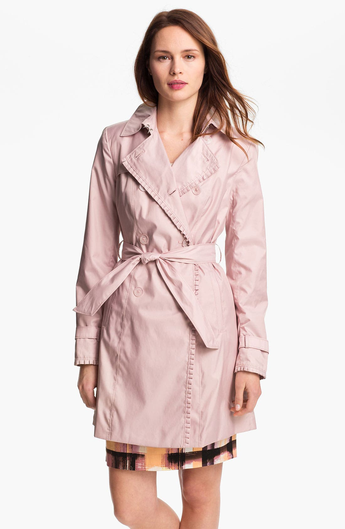 Alternate Image 1 Selected - Ivanka Trump Pleat Trim Trench Coat (Online Only)