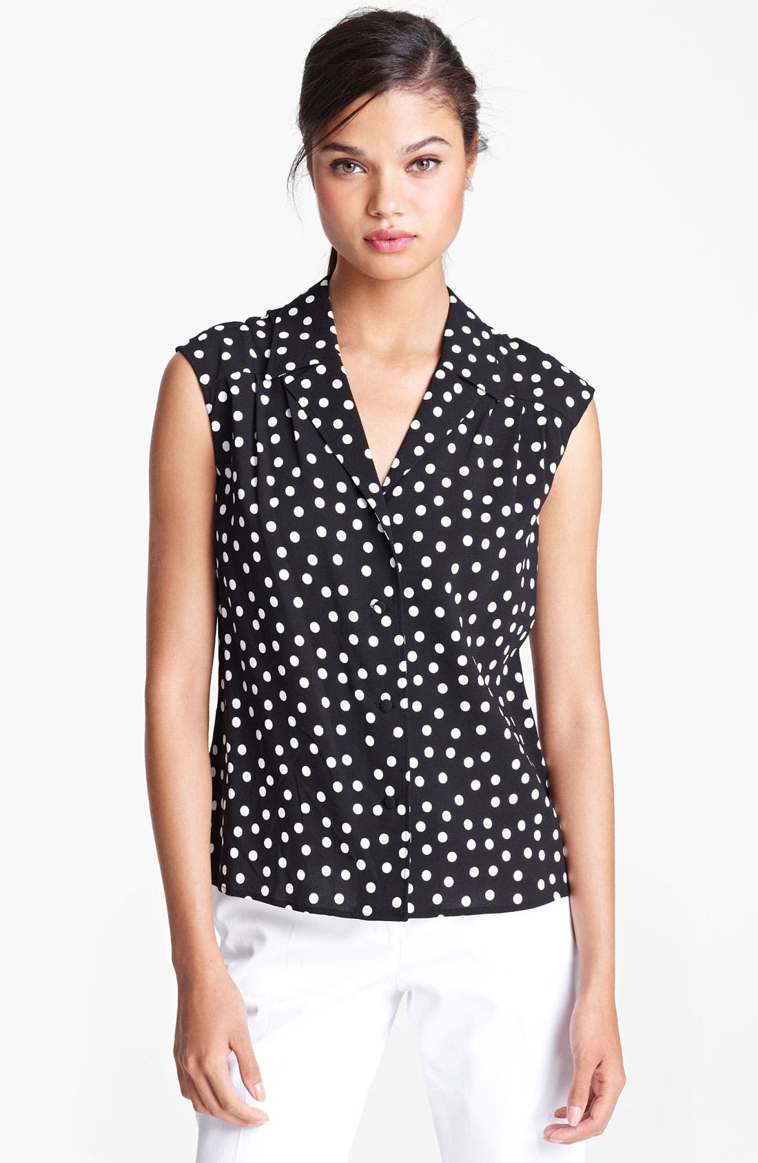 Alternate Image 1 Selected - Dolce&Gabbana Polka Dot Stretch Cady Blouse