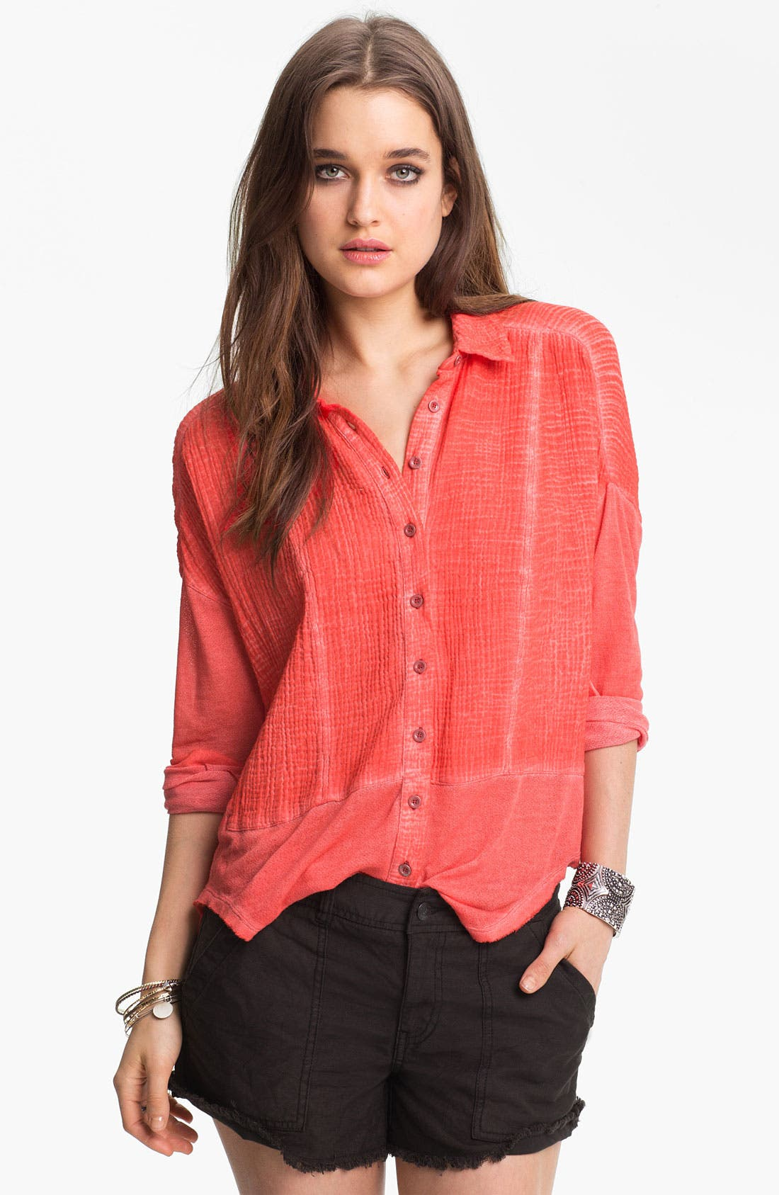 Main Image - Free People Mixed Texture Boxy Shirt