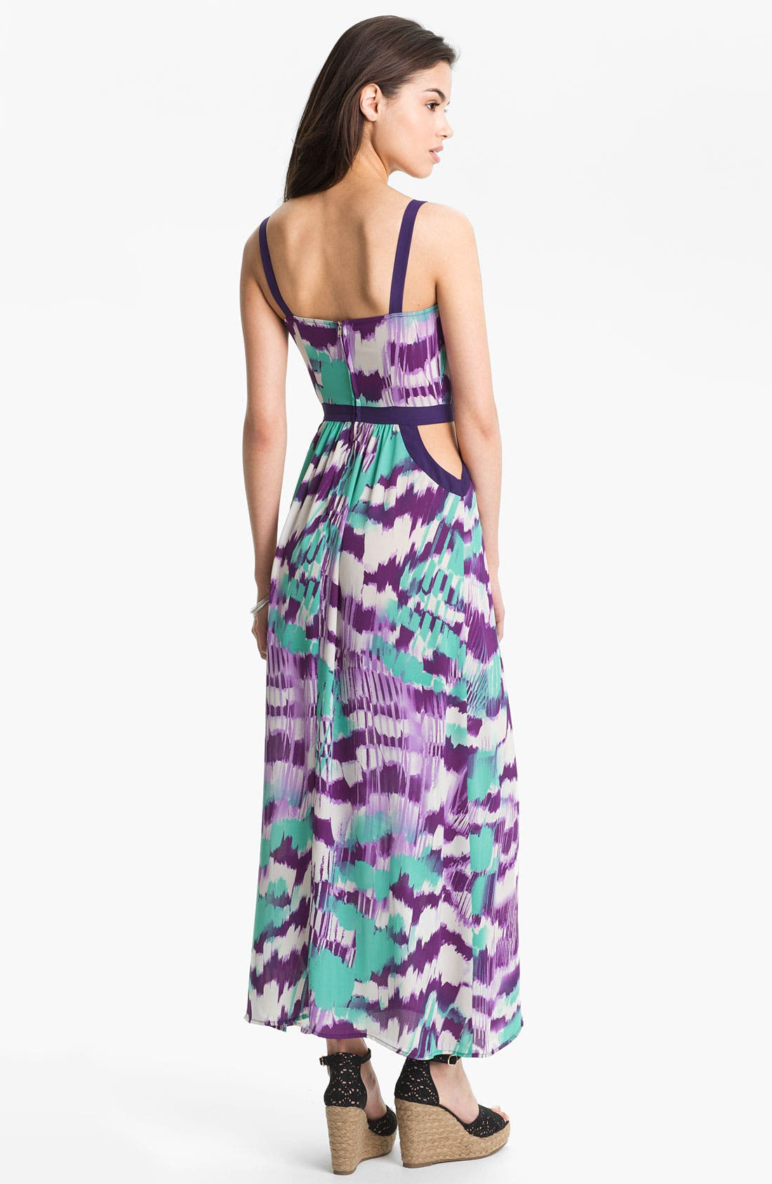 Alternate Image 2  - Soprano Cutout Abstract Print Maxi Dress (Juniors)