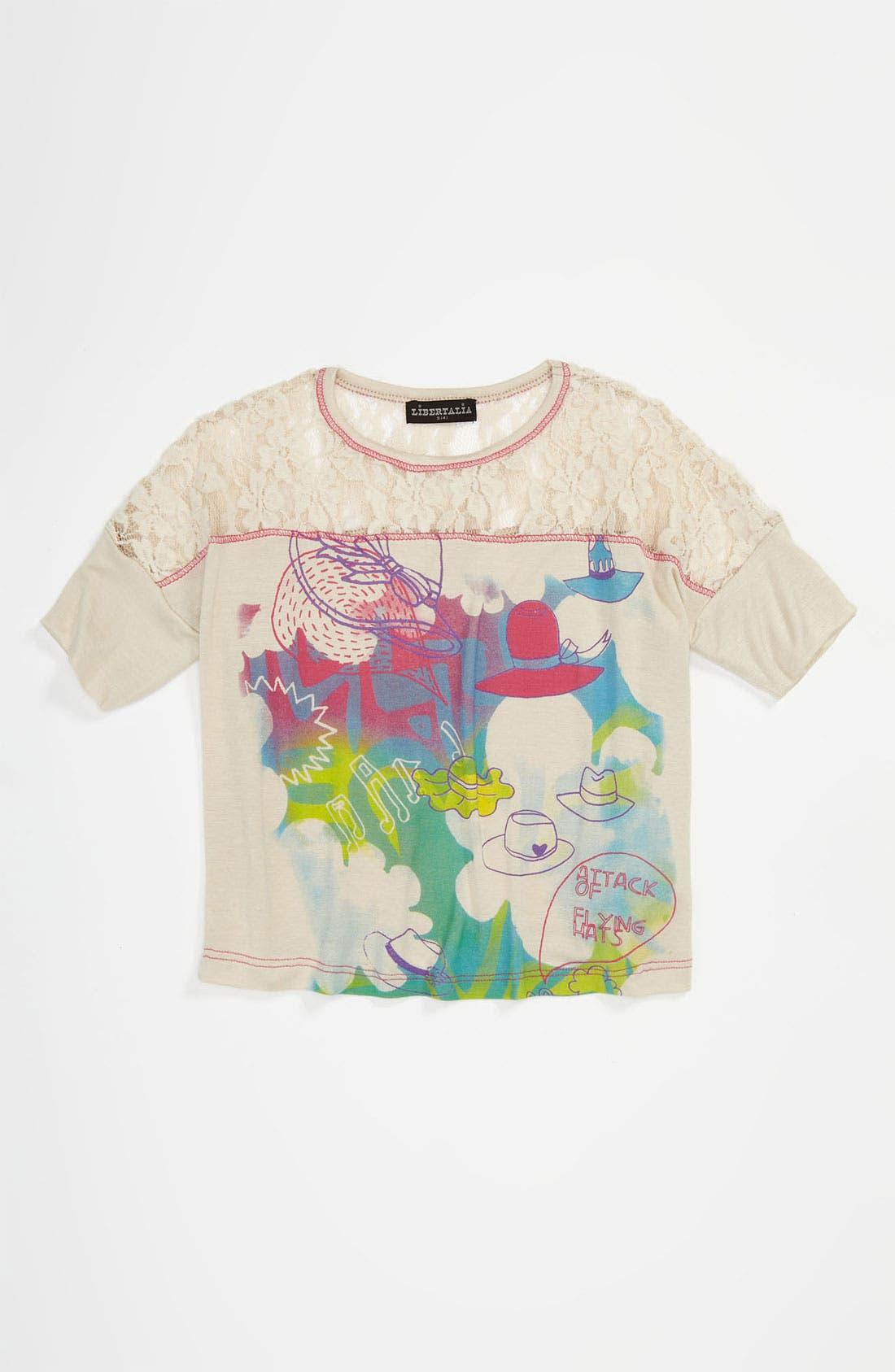 Alternate Image 1 Selected - Libertalia Lace Crop Top (Big Girls)