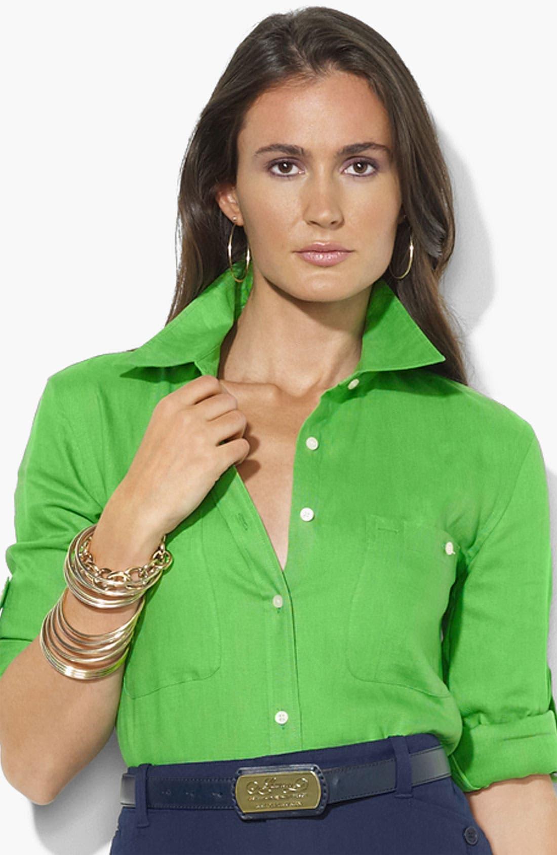 Alternate Image 1 Selected - Lauren Ralph Lauren Linen Work Shirt