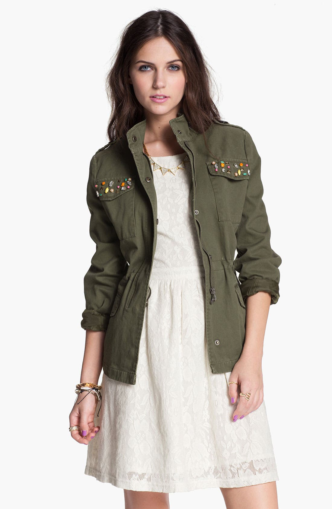 Alternate Image 1 Selected - Jolt Embellished Utility Jacket (Juniors)