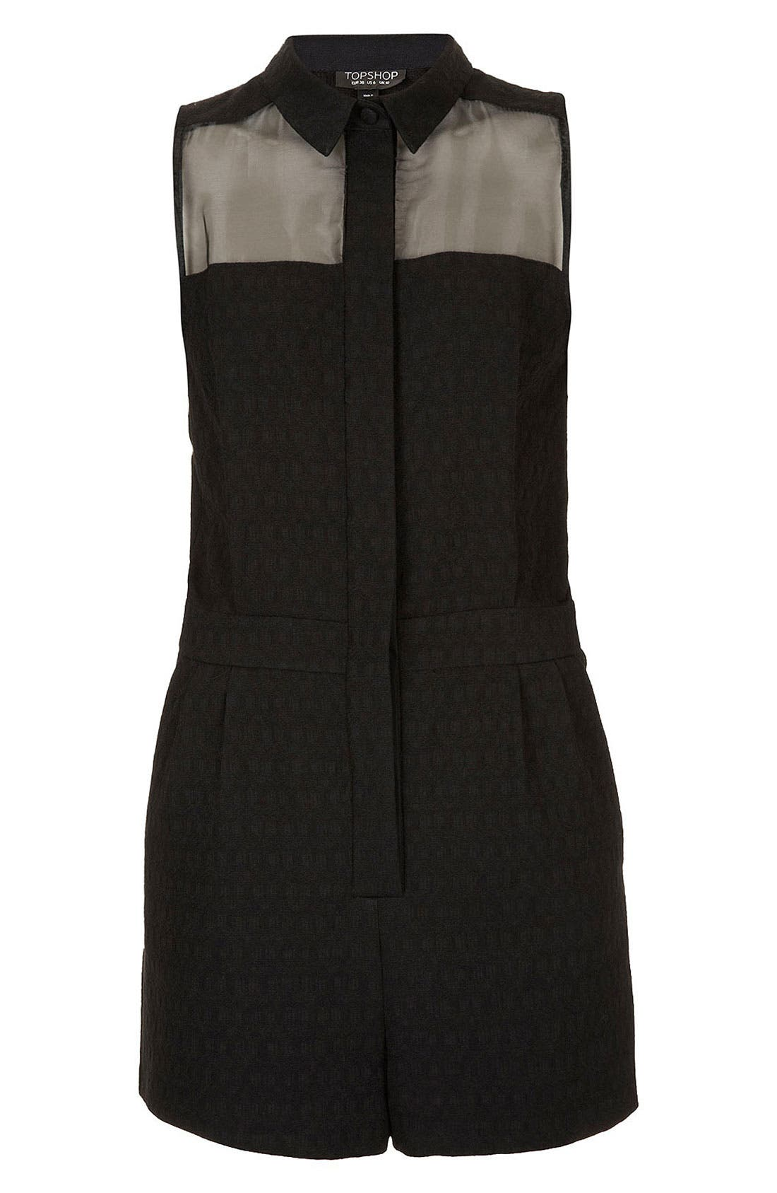 Alternate Image 2  - Topshop Sheer Panel Jacquard Romper