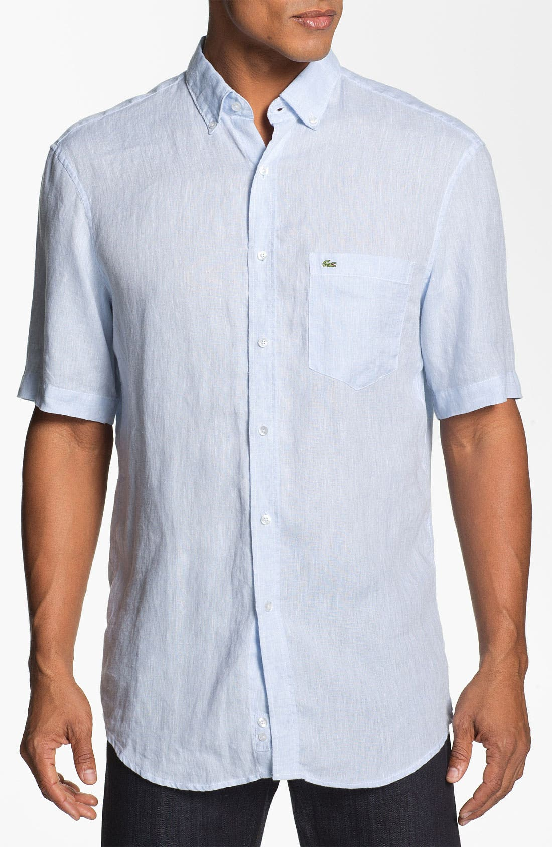 Alternate Image 1 Selected - Lacoste Short Sleeve Linen Shirt