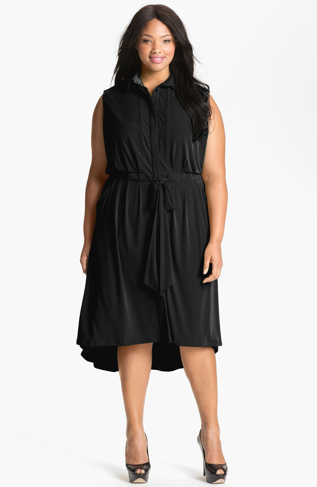 Alternate Image 1 Selected - Vince Camuto Sleeveless Shirtdress (Plus Size) (Online Only)