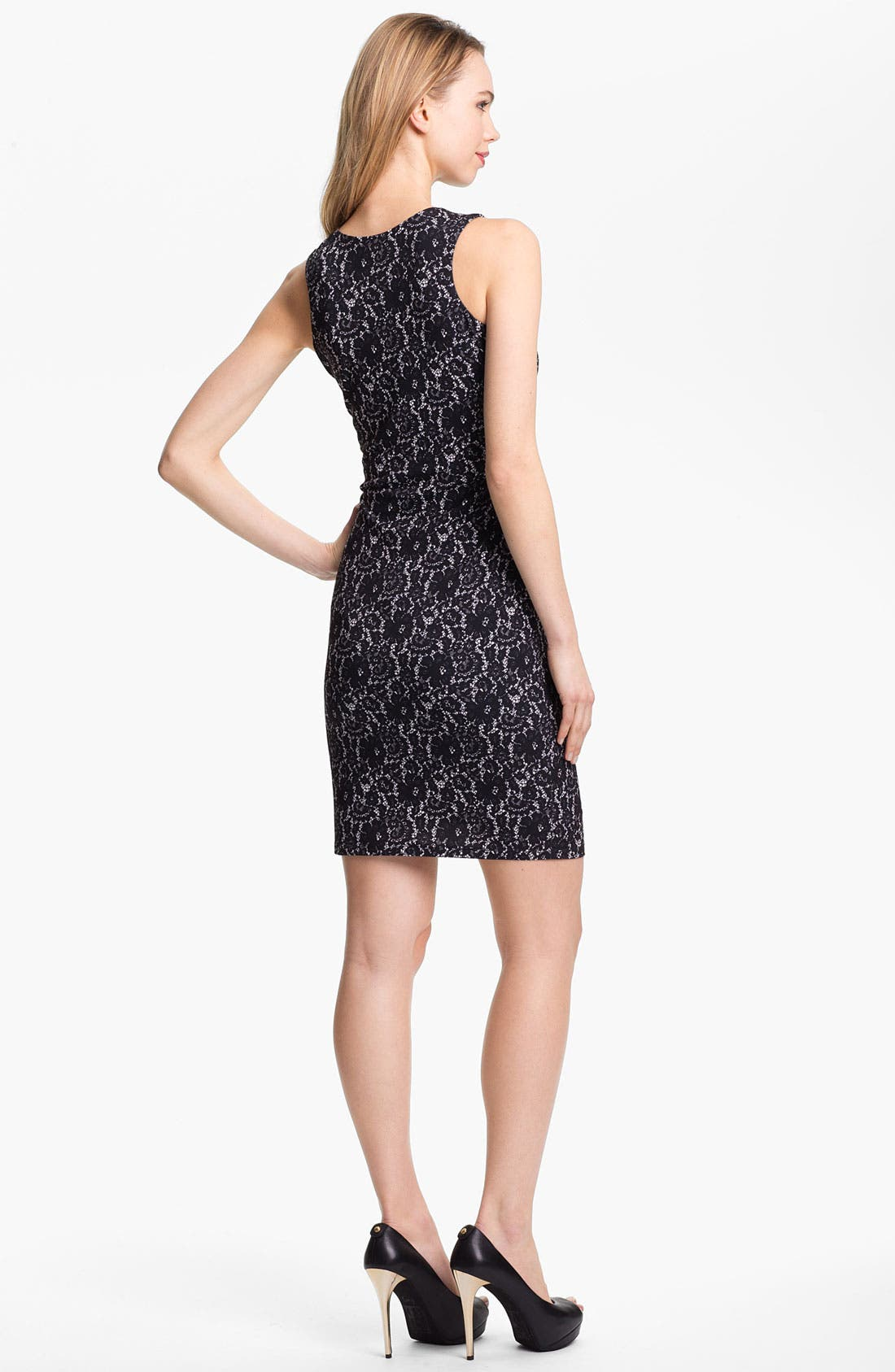 Alternate Image 2  - Vince Camuto Lace Print Sheath Dress