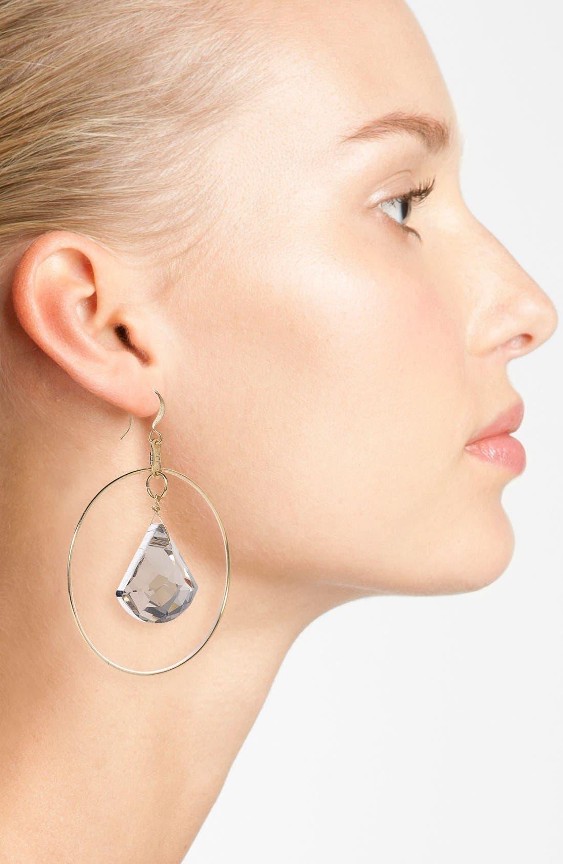 Alternate Image 2  - Verdier Jewelry Crystal Hoop Earrings