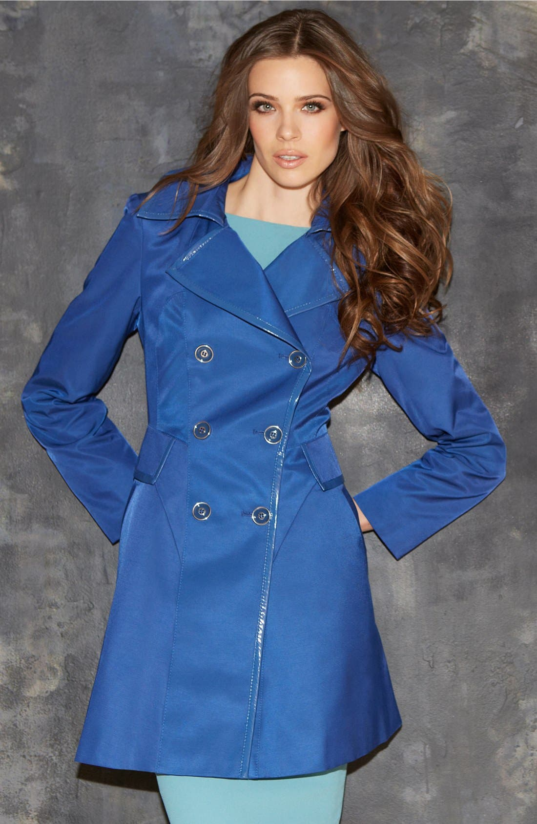 Alternate Image 4  - Via Spiga Patent Trim Trench Coat (Regular & Petite) (Online Only)