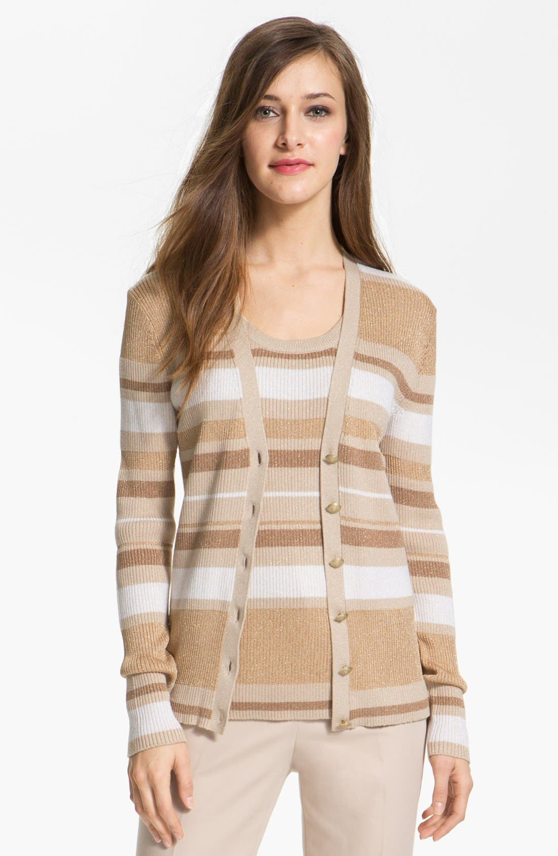 Main Image - Anne Klein Stripe V-Neck Cardigan