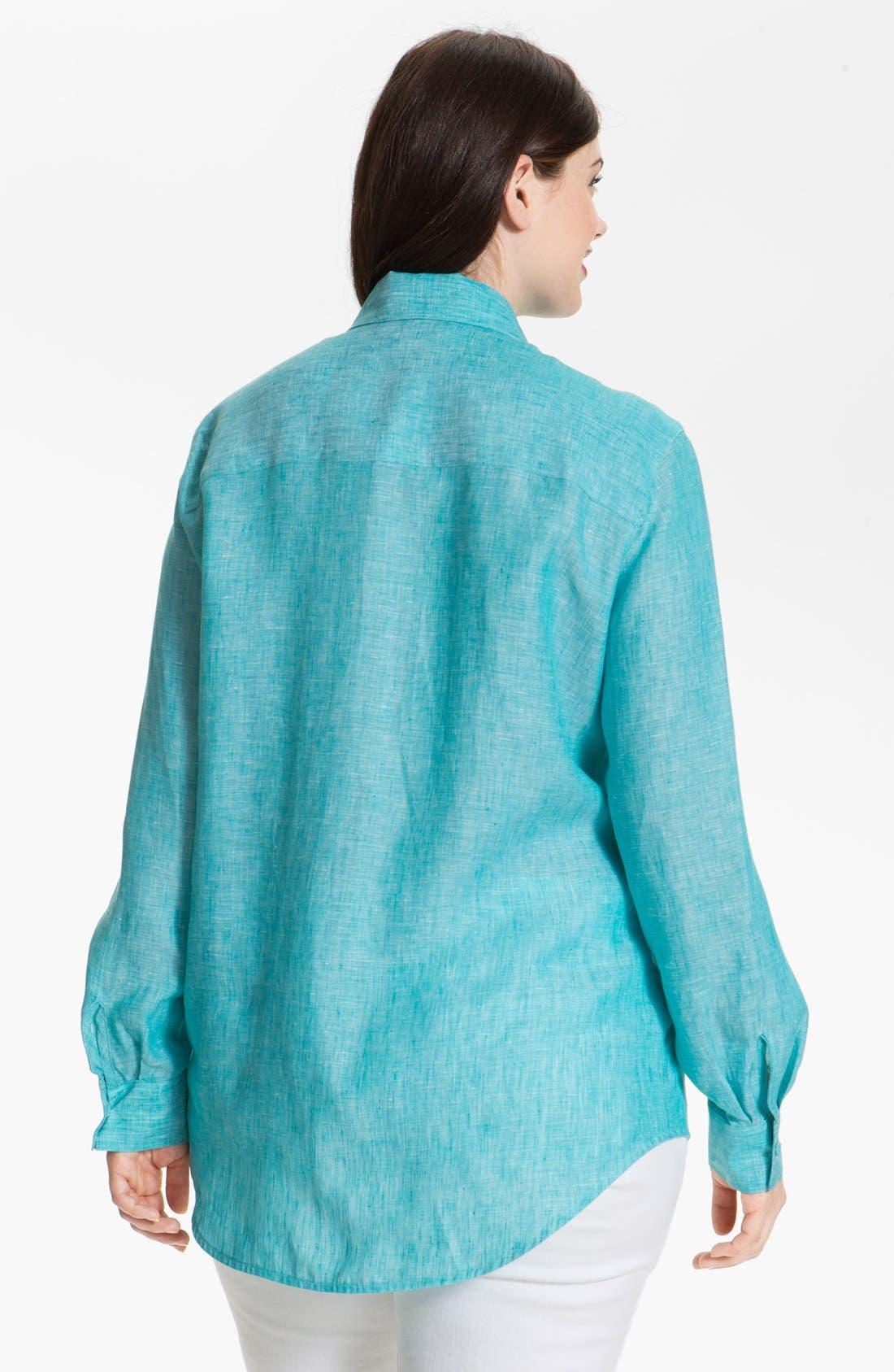 Alternate Image 2  - Foxcroft Linen Shaped Shirt (Plus Size)