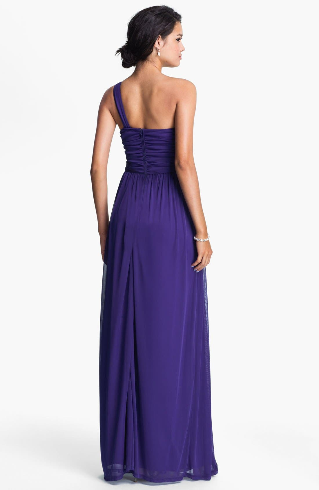 Alternate Image 2  - Way-In Embellished One Shoulder Chiffon Gown (Juniors)