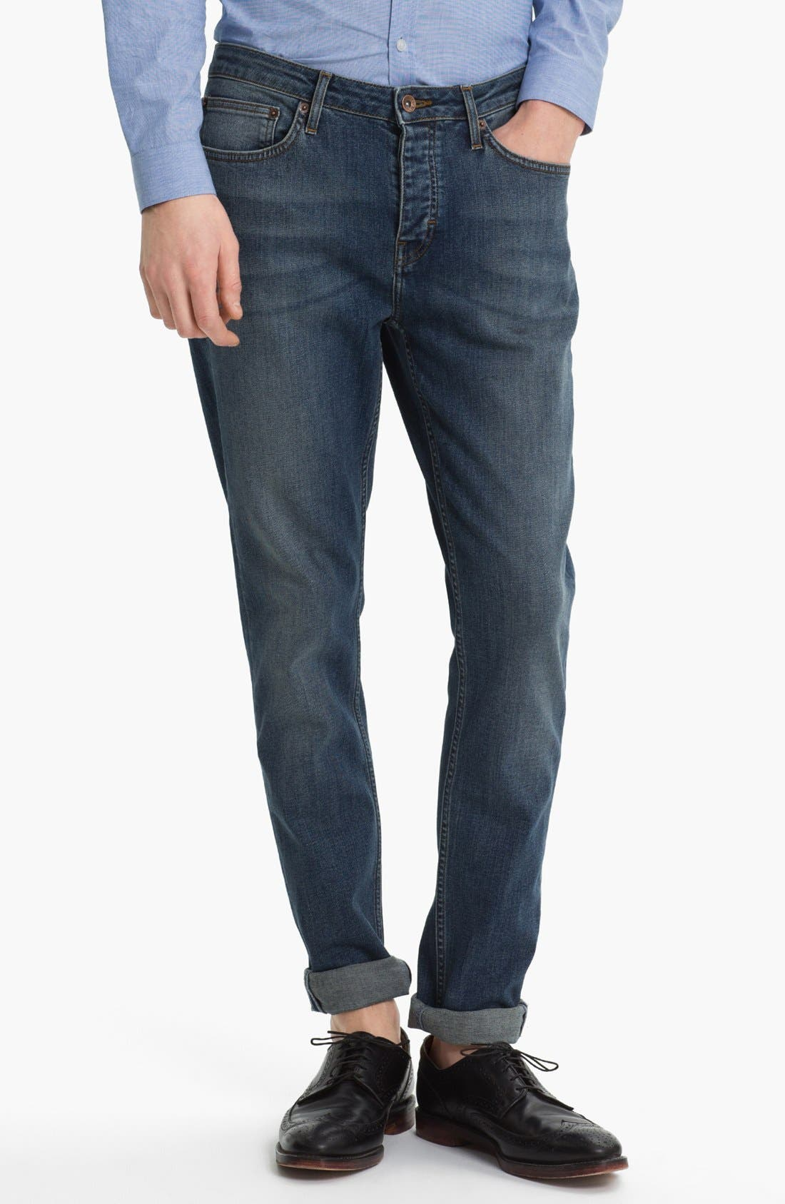 Alternate Image 2  - Topman Slim Skinny Leg Jeans (Medium Blue)