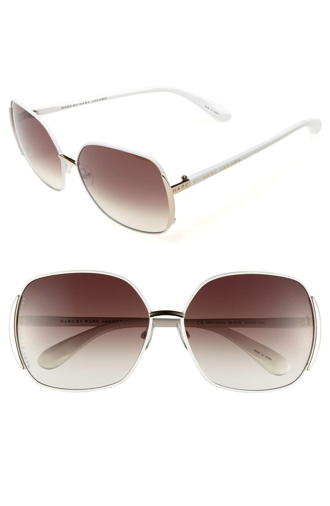 61mm Vintage Inspired Oversized Sunglasses,                         Main,                         color, Polished White