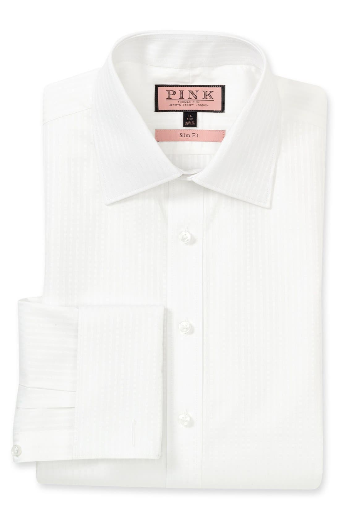 Alternate Image 1 Selected - Thomas Pink 'Steve' Stripe Cotton Slim Fit Dress Shirt